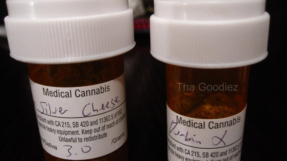 Two prescription bottles containing medical marijuana