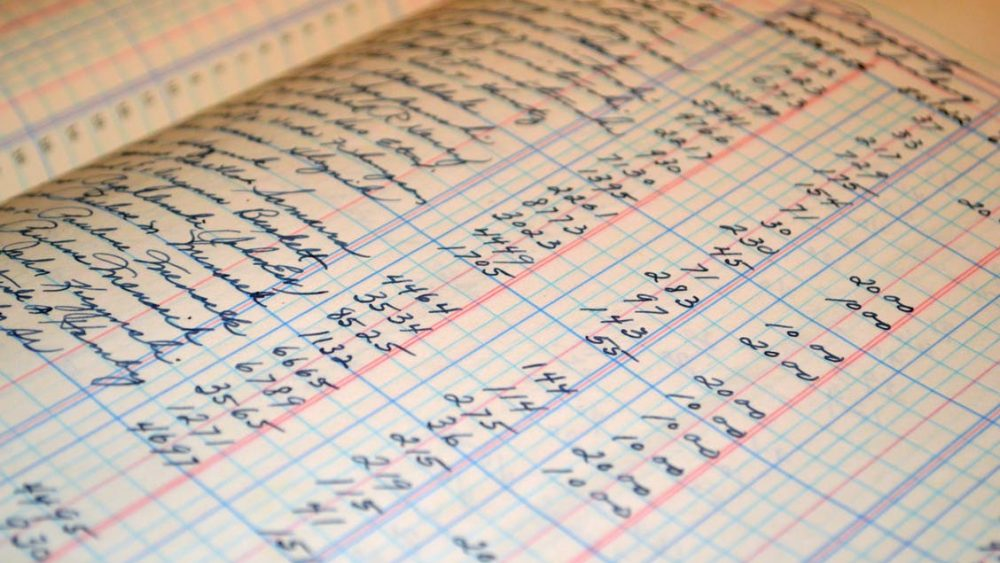 Photo of an office ledger