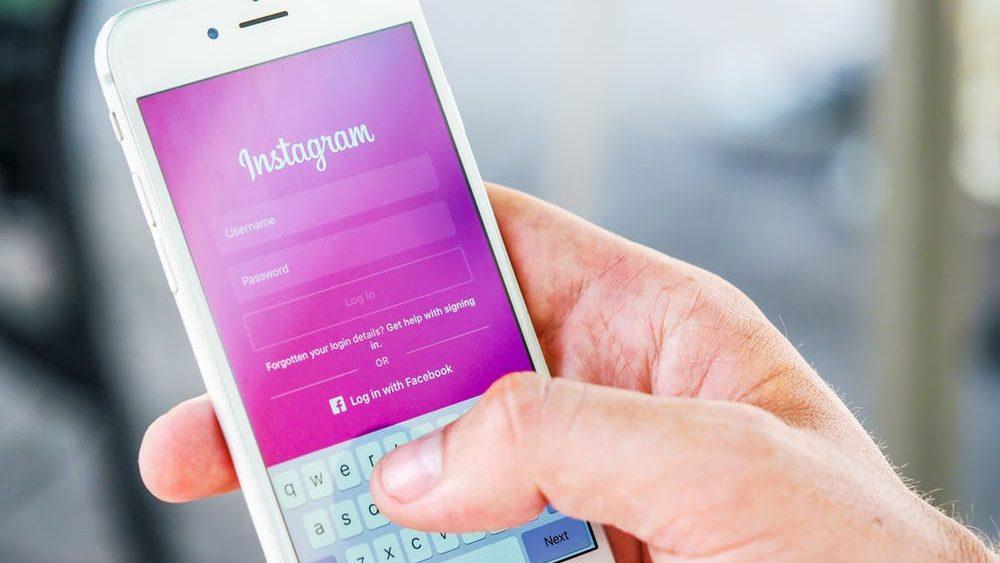 Smart phone with Instagram login screen