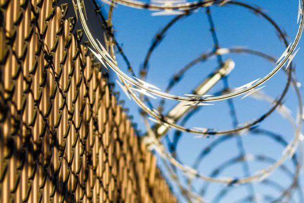 Photo of prison barbed wire fence