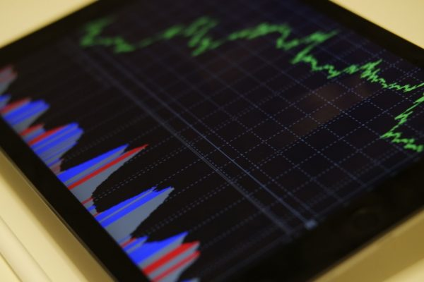 Charts on a computer screen showing big data