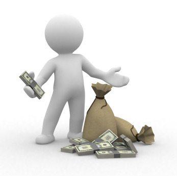 Cartoon figure holding cash with bag of money