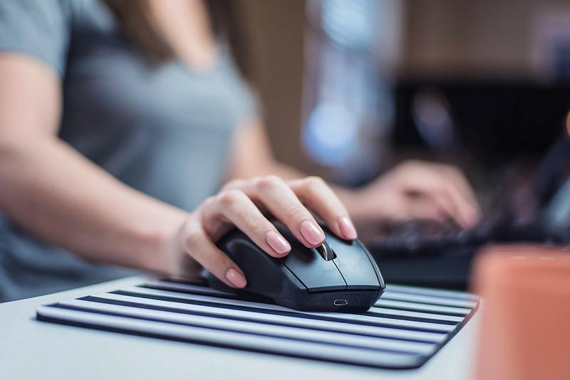 Employee working on computer
