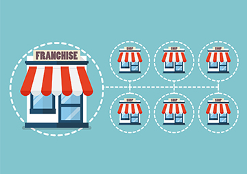 Illustration of franchise businesses.