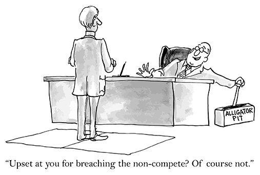 Cartoon illustrating a non-compete agreement