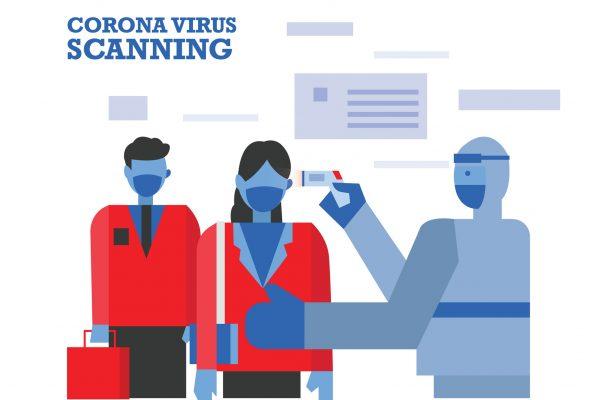 Medics in hazmat suits scanning people looking for symptoms of the coronavirus.